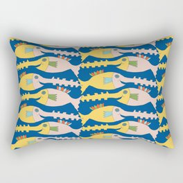 Fish Lulu - night blue with lemon Rectangular Pillow