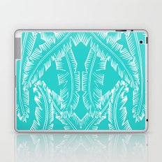 Modern Palm Leaves - Turquoise Blue and White Laptop & iPad Skin