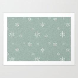 Snow Flakes pattern Green #homedecor #nurserydecor Art Print