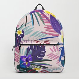 Tropical Palm and Monstera Leaves Pattern Backpack