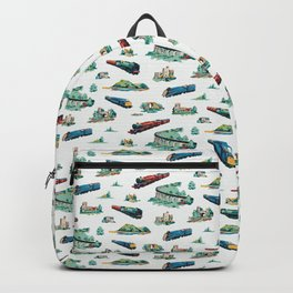 Busy Locomotives - Retro Children's Train Print Backpack
