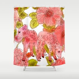 Lambs among the flowers Shower Curtain