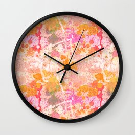 Abstract Paint Splatters Pink & Orange Wall Clock