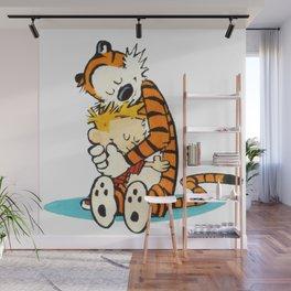 calvin and hobbes hug Wall Mural