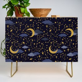 Celestial Stars and Moons in Gold and Dark Blue Credenza