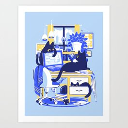 Working From Home Art Print