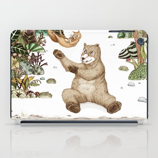 Mr.Brown is playing with the squirrel iPad Case