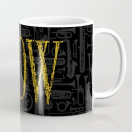 Blow BLACK & GOLD / Horn instruments forming type and background Coffee Mug