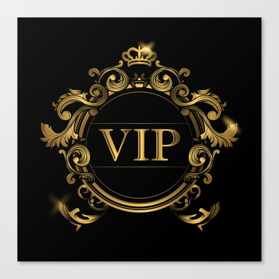 VIP In Black and Goldtone Canvas Print