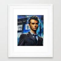 david tennant Framed Art Prints featuring dr who 10 david tennant by janice maclellan