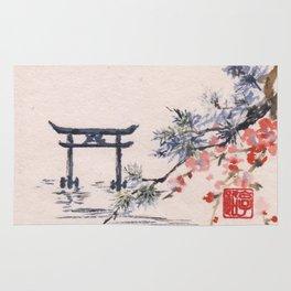 Cherry Blossom Torii Gate Rug