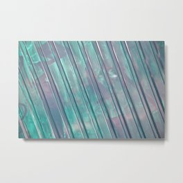 Stripes - Aqua Metal Print