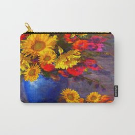 Awesome Blue Vase Fruit & Sunflowers Still Life Carry-All Pouch