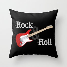 Rock and Roll Guitar Throw Pillow