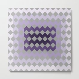 Grey Purple Quilt Metal Print
