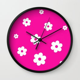 White Flowers On Pink Background Wall Clock