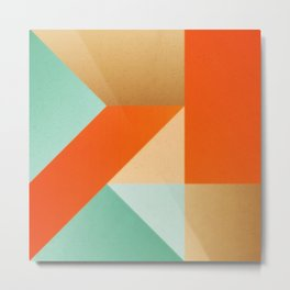 Abstract art - Color pattern 2 - green, orange , gold Metal Print