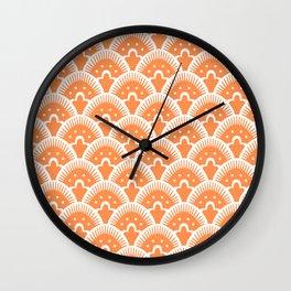Fan Pattern 331 Orange Wall Clock