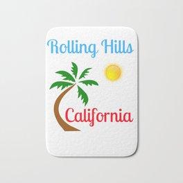 Rolling Hills California Palm Tree and Sun Bath Mat