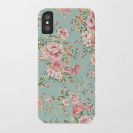 Wild Roses with blue background iPhone Case