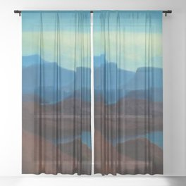 Icelandic Dreams, Nordic alpine blue mountain landscape by Thorarinn Thorlaksson Sheer Curtain