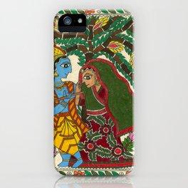 Radha Krishna Madhubani iPhone Case