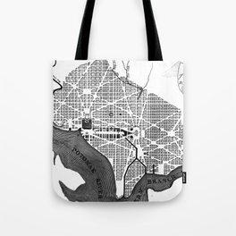 Vintage Map of Washington D.C. (1793) BW Tote Bag