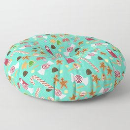 Christmas Sweeties Candies, Peppermints, Candy Canes and Chocolates on Aqua Floor Pillow