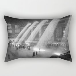 New York Grand Central Train Station Terminal Black and White Photography Print Rectangular Pillow
