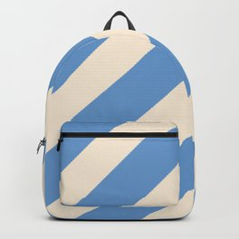 Antique White and Blue Grey Diagonal Stripes Backpack