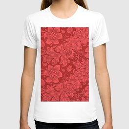 William Morris Red Tuscan Sunflower Textile Floral Pattern T-shirt