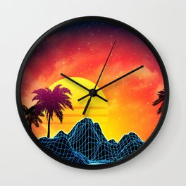 Sunset Vaporwave landscape with rocks and palms Wall Clock