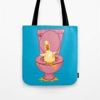 toilet Tote Bags featuring Toilet Duckling by Chris Piascik
