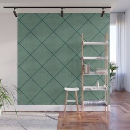 Stitched Diamond Geo Grid in Green Wall Mural