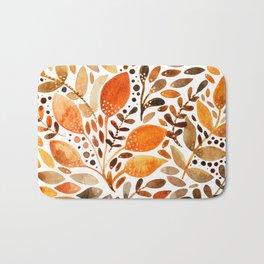 Autumn watercolor leaves Bath Mat