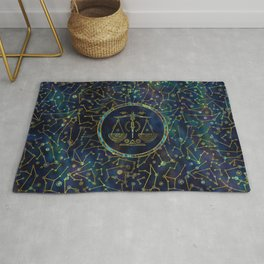 Libra Zodiac Gold Abalone on Constellation Rug