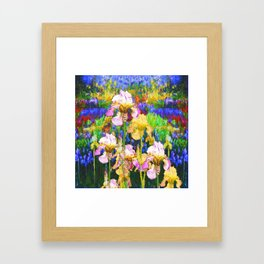 BLUE YELLOW IRIS GARDEN REFLECTION Framed Art Print