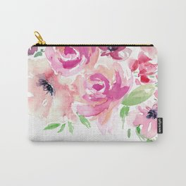 Pink Watercolor Florals with Greenery Carry-All Pouch