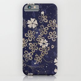 Vintage Japanese Papers: Midnight Blue Floral Pattern iPhone Case