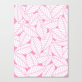 Leaves in Flamingo Canvas Print