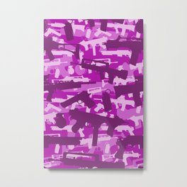 Military Camouflage Neck Gator Purple Camo Weapons Metal Print