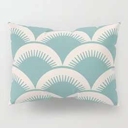 Japanese Fan Pattern Foam Green and Beige Pillow Sham