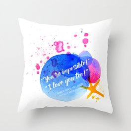 """Percy Jackson Percabeth House of Hades """"I love you too!"""" Quote Throw Pillow"""