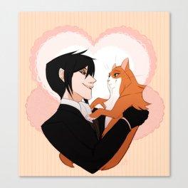 Sebastian and cat lady Canvas Print