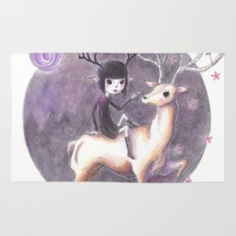 NightFaun and her deer friend wander the dark forest Rug