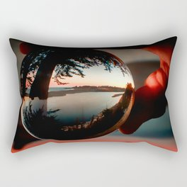 Holding a Sunrise refraction photography with a crystal ball Rectangular Pillow