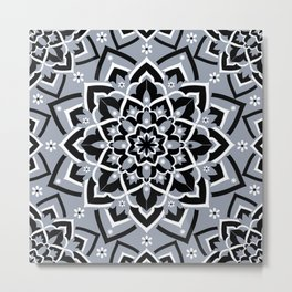 'Immortal Spirit' Dusty Blue Black & White Mandala Design Metal Print