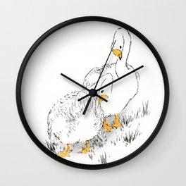 Geese Preening Feathers - Vintage Japanese Minimalist Woodblock Print Art By Numata Kashu Wall Clock