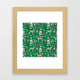 Dalmatian dog breed christmas holiday presents candy canes dalmatians dogs Framed Art Print
