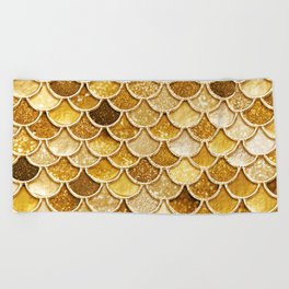 Gold Trendy Glitter Mermaid Scales Beach Towel